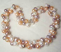 2 row 8x9mm multicolor pearl necklace