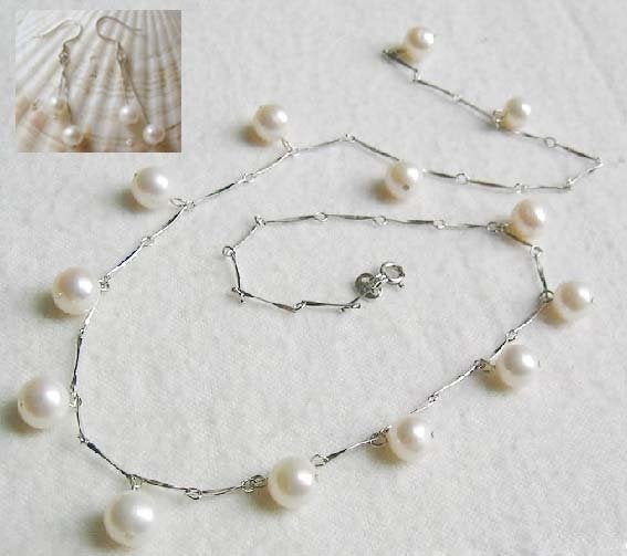 Bridal white freshwater pearl necklace earrings set