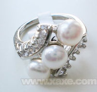 3pcs freshwater pearl ring with rhinestone - white color