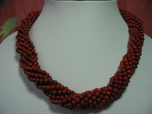 18'' 4mm coral beads necklace-8 strands twist