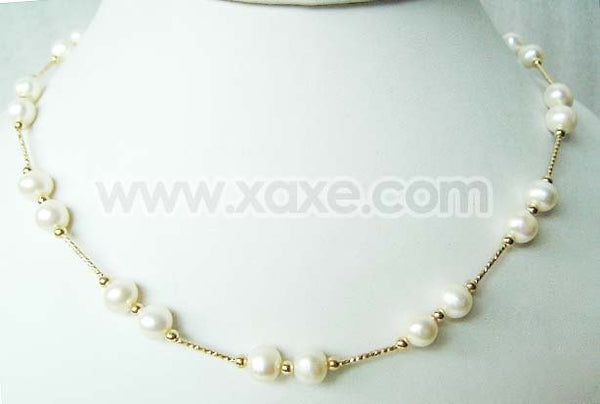 "17.5"" 6-7mm white double pearl necklace with gold plated chain"