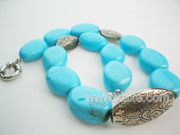 18.5'' huge turquoise bead and tibet silver bead necklace
