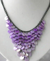 10mm purple shell black chain necklace