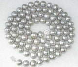 "34"" 9.5-10.5mm gray FW pearl necklace"