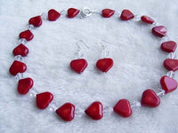 Red coral heart bead necklace & earrings set