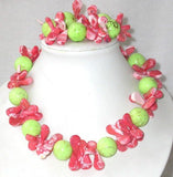 Gorgeous 17''/7.5 pink coral green turquoise necklace bracelet s