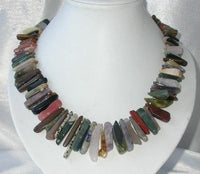 Charming! 17'' 5x15mm multi-color stones necklace