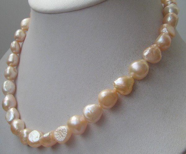"6"" baroque pink freshwater pearl necklace heart clasp"
