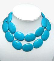 35'' huge blue turquoise bead necklace