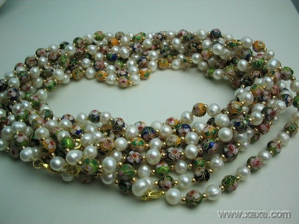 wholesale 10 pcs white pearl cloisonne bead necklace