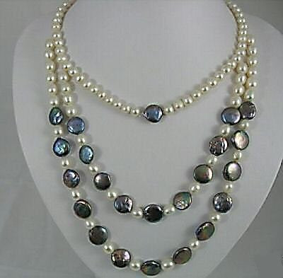 16''-22'' black and white pearl necklace