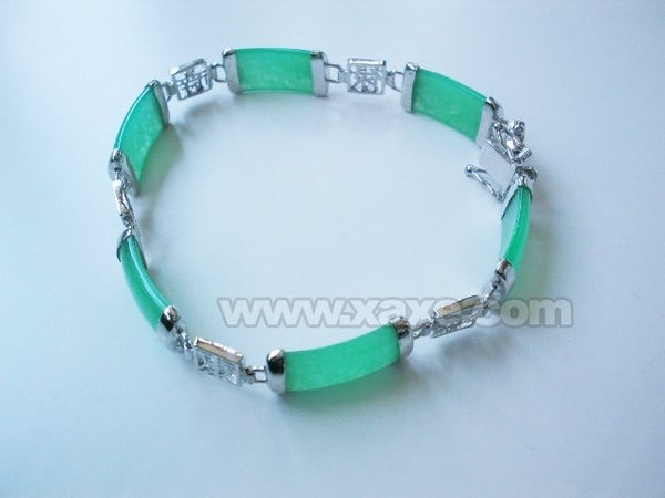 7.8'' 10x20mm green jade bracelet