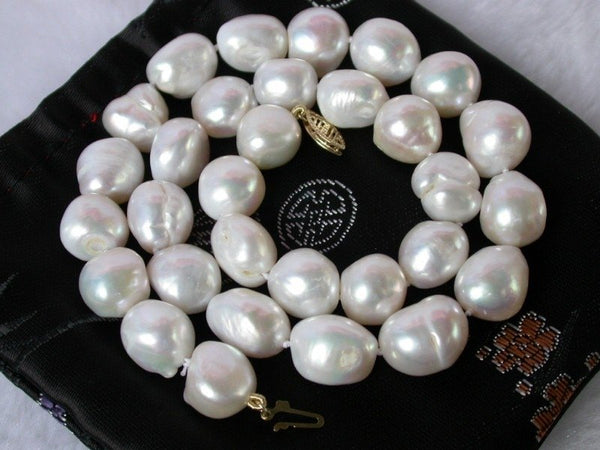 16mm baroque white cultured pearls necklace 14kgold