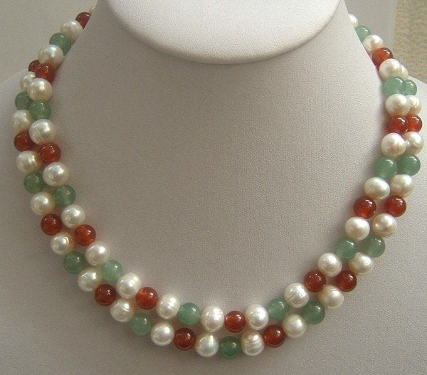 2 strands Real white FW pearls & jade necklace