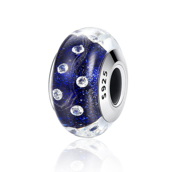 Sterling 925 silver charm the night bubble Murano bead pendant fits European bracelet