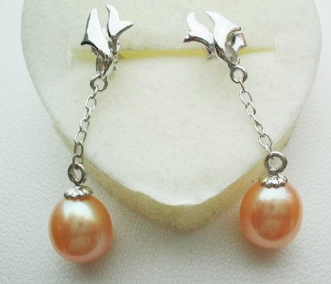 Pearl earrings with sterling silver - Pink Dangle PE1101