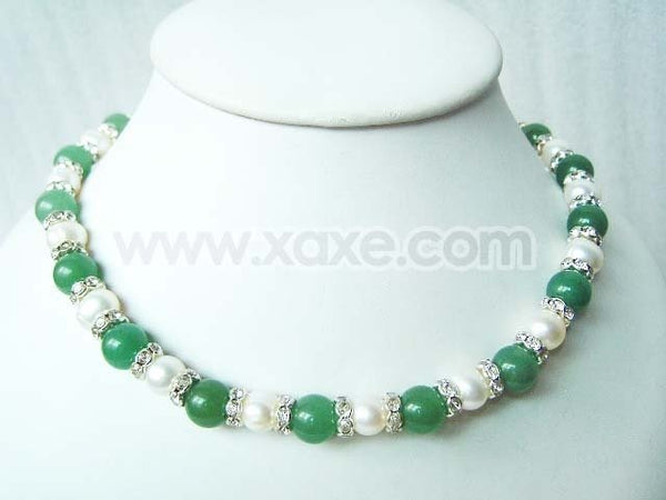 10mm Green Jade & Pearl Rhinestone Necklace