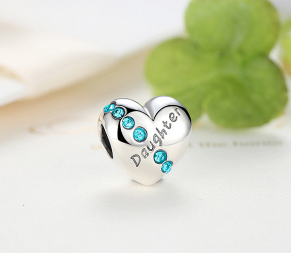 Sterling 925 silver love daughter bead pendant fits Pandora charm and European bracelet