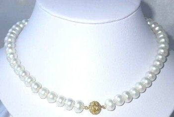 "17"" bigger 9-10mm white FW pearl necklace"