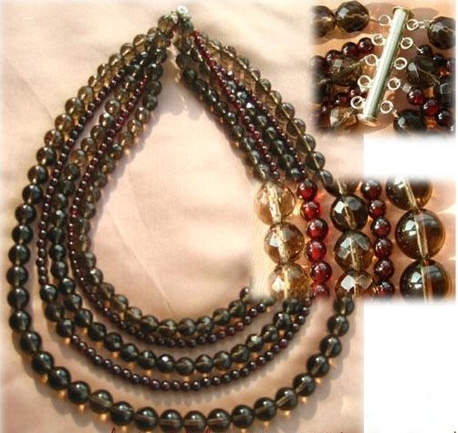 "15-17"" 5 rows brown cystal beads and garnet beads necklace with"
