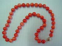 "18"" stunning 8mm pink coral beads necklace"