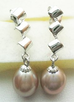 Pearl earrings with sterling silver - Lavender Dangle PE1095