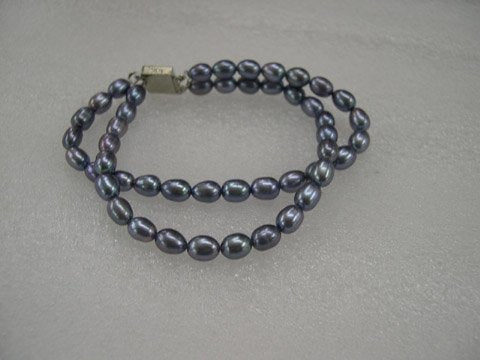 Excellent 7.5'' 2 rows grey Cultured Pearl bracelet