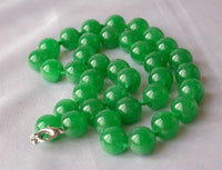 "17.5"" 12mm natural green jade necklace"