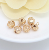 10 pcs 24k gold plated flower bud pendant brass spacer beads  brass caps brass connector