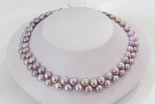 16'' lavender color button freshwater pearl necklace