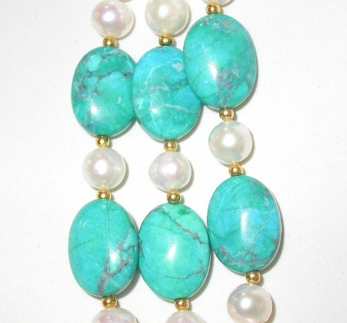 Elegant 20-22'' 3-rows 8mm white pearl turquoise necklace