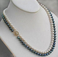 18'' 2 strands white and black pearl necklace