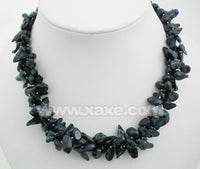 18'' graceful multistrands biwa pearl necklace - black