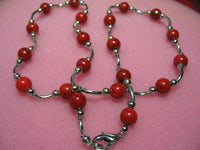 "exquisite 17"" red coral/wire necklace"
