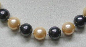 17'' 12mm black & yellow sea shell pearls necklace
