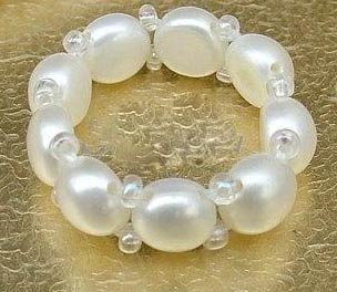 6-7mm White Button Pearl Ring