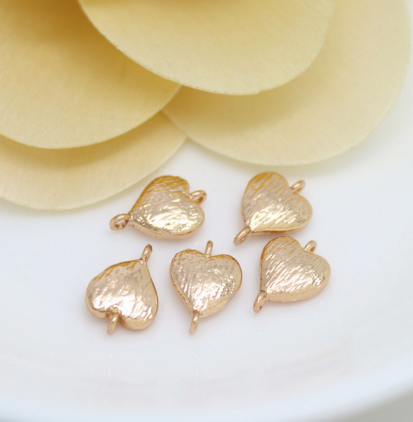 10 pcs 24k gold plated cubic heart brass spacer beads  brass caps brass connector