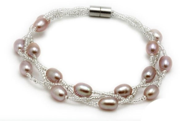 "7"" 6-7mm rice shape freshwater pearl bracelet purple"
