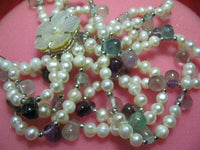 "18"" three strands white pearl/fluorite necklace"