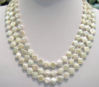 Diamond 17-19'' 3rows White Cultured Pearl Necklace
