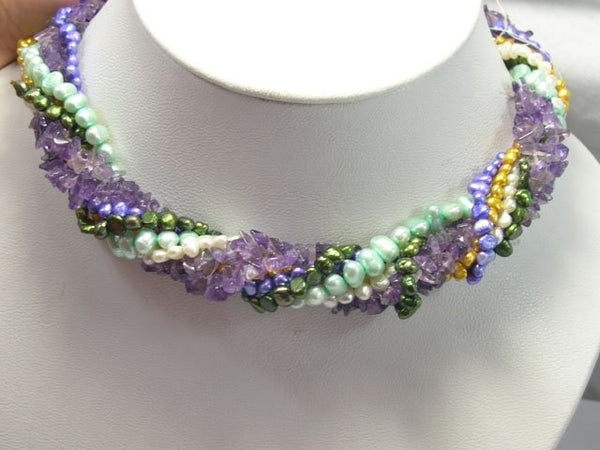 Charming multicolor 7rows cultured PEARL & crystal Necklace