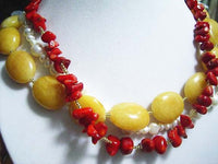 20'' 3rows yellow jade & coral & pearl necklace
