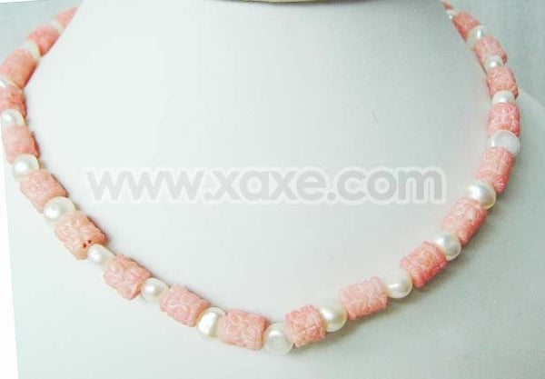 "17"" 9mm pink coral carved beads and 5-6mm white pearl necklace"