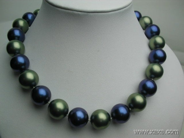 "Huge 17"" 16mm blue and green seashell pearl necklace"