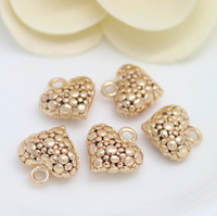 10 pcs 24k gold plated cubic bubble love brass spacer beads  brass caps brass connector