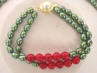 "16""-17"" 2rows 5*7mm green Pearl red coral necklace set"