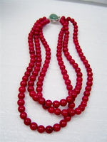 3 row red coral necklace with jade clasp [NW1211]