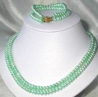 "9K 17""-18"" 6-7mm green pearl necklace bracelet set"