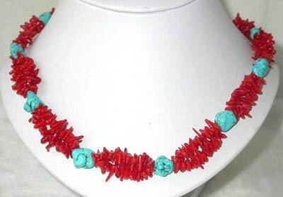 17'' 2row twist coral chips and turquoise bead necklace