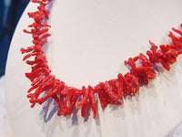 Natural red branch blood coral necklace 14k